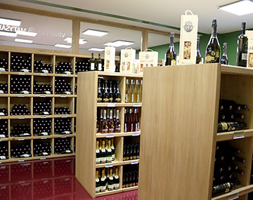 We sell wines and quality home-made products.