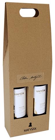 Darčeková ľahko prenosná kartónová krabica na 2 fľaše