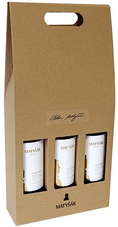 Darčeková ľahko prenosná kartónová krabica na 3 fľaše
